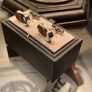 Silver bean cufflinks